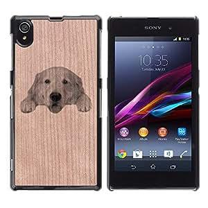GIFT CHOICE / Teléfono Estuche Caso de madera de cerezo natural Duro Cáscara Funda Cubierta / Natural Cherry Wood Case for Sony Xperia Z1 L39 C6902 C6903 C6906 C6916 C6943 // Cute Labrador Pet Dog //