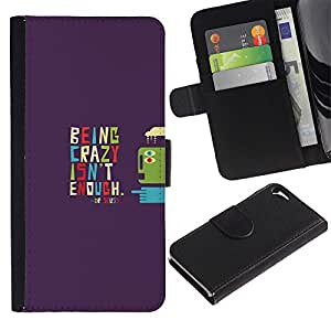 KLONGSHOP // Tirón de la caja Cartera de cuero con ranuras para tarjetas - SER LOCO TIPOGRAFÍA - Apple Iphone 5 / 5S //