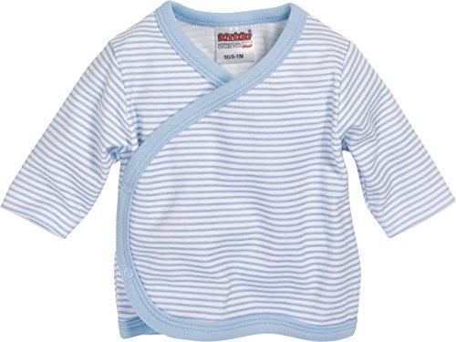 Schnizler Unisex Baby Hemd Wickelshirt, Flügelhemd, Erstlingshemd Langarm Ringel, Oeko Tex Standard 100, Gr. 50, Blau (weiß/bleu 117)