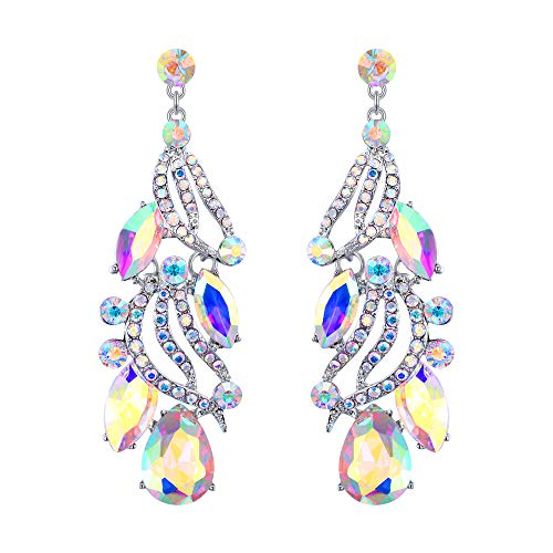 Flyonce Women's Austrian Crystal Wedding Bridal Leaf Teardrop Chandelier Dangle Earrings Iridescent Clear AB Silver-Tone ()