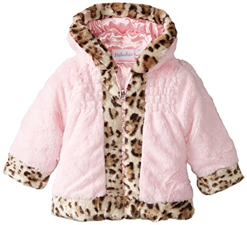 Jacket Trim Animal (Pistachio Baby Girls' Faux Fur Jacket with Animal Print Trim, Pink, 18 Months)