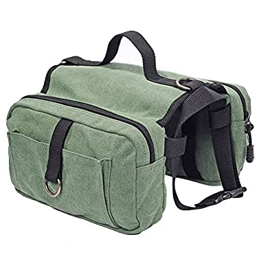 Lalawow Cotton Canvas Dog Pack Hound Travel Camping Hiking Backpack Saddle Bag Rucksack for Medium & Large Dog (Green)
