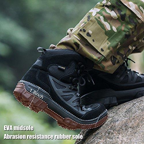 Bottes Tactiques Militaires Extérieures De Soldat Pour Hommes En Plein Air Ultra Hiver Mi Bottes De Randonnée Noir + Daim En Cuir