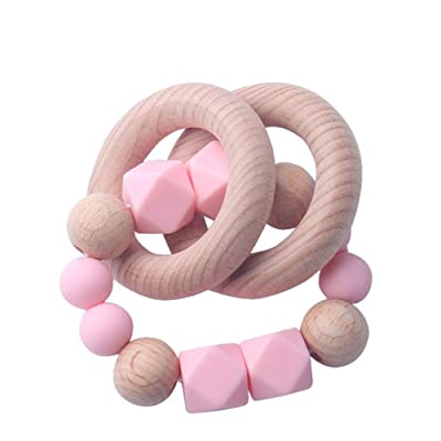 Weixinbuy Teething Relief Toy, Toddler Teether Nursing Bracelet, Safe Wooden Teether Ring, Baby Shower Gift for Newborn Infant Baby : Baby