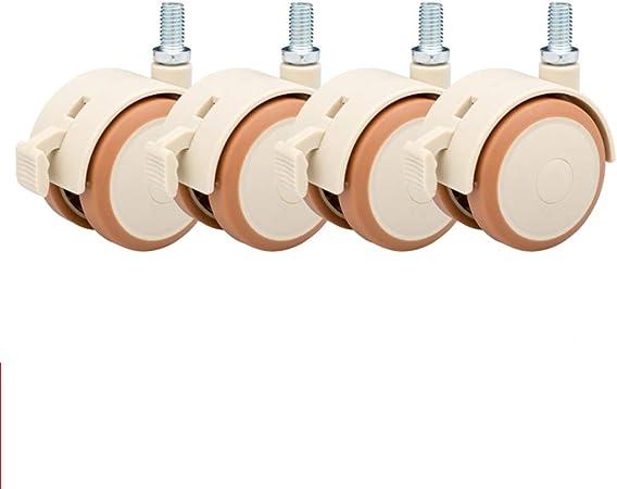 Universal wheel Vite da 2Mute con Ruota in Gomma Freno Ruota per Accessori per puleggia per Lettino per Bambini Confezione da 4