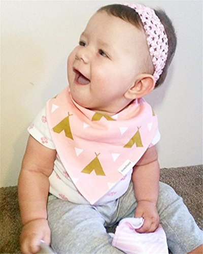 Ncybaby Organic Cotton Baby Bandana Drool Bib for Boys and Girls Gift Set with Cute Vibrant Print