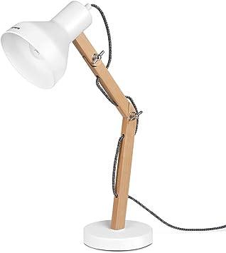 Tomons Wood Adjustable Head Desk Lamp Designer Table Lamp Reading Lights Study Lamp Work Lamp Office Lamp Bedside Nightstand Lamp White Amazon Com