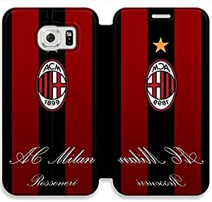 Samsung Galaxy S6 Cell Phone Case AC Milan Football Club FC Logo Colorful Printing Leather Flip Case Cover 3RTY502598
