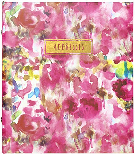 (C.R. Gibson Floral Watercolor Refillable 6-Ring Address Book, 440 Entries, 6.5