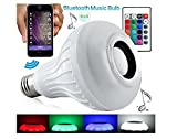 Best to Buy® Bluetooth Smart 12W E26 LED Light Bulb Speaker Dimmable Multicolored Color Changing LED Bedside Desk Lights Bar Sinks - Smartphone and IR Remote Controlled (WHITE )