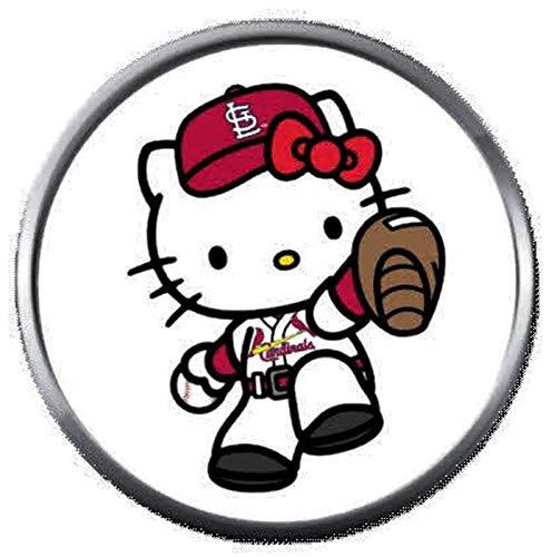 (Hello Kitty St Louis Cardinals MLB Baseball Logo 18MM - 20MM Snap Jewelry Charm)