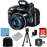 Canon PowerShot SX60 HS 16.1 MP Digital Camera with 65x Wide-Angle Optical Image Stabilized Zoom Super Bundle W/ 32GB SDHC Class 10 High Speed Memory Card, Dig Pro Case SD USB 2.0 Card Reader