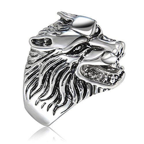 (SMALLE ◕‿◕ Clearance,Wolf Head Ring Ornament Collocation of Fashion Hand Decoration Gift)