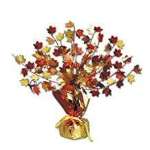 Beistle 1-Pack Decorative Fall Leaves Gleam and Burst Centerpiece, 15-Inch
