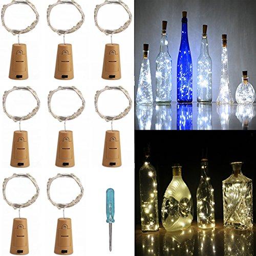 ZZF-LYA 8 Packs Cork Lights for Wine Bottle, 2M/6.56 Feet 20 Fairy String Leds Shape Battery Silver Wire for Bottle DIY, Party, Decor, Christmas, Halloween, Wedding or Mood Lights - (Classy Halloween)