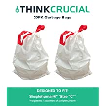 Think Crucial 20PK Durable Garbage Bags Fit Simplehuman Size C, 10-12L/2.6-3.2 Gallon