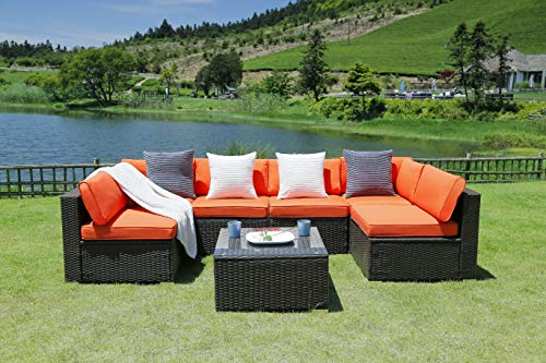 N&V Patio Furniture Set (7 Pieces) Modern Outdoor Furniture Sofas with Seat Cushions Pillows Tea Table Glass Top Lumbar Pad Blanket Fashion Couch Sets for Garden Backyard Pool ... (Outdoor Cleaner Diy Furniture)