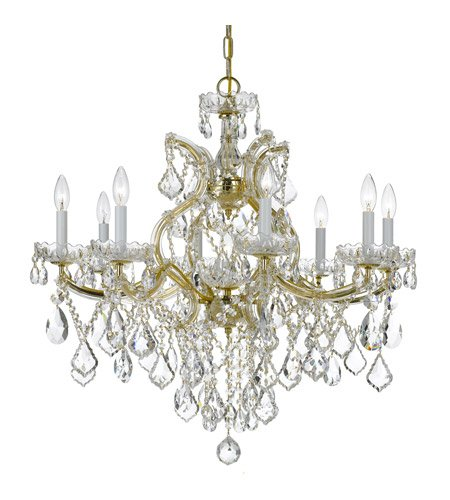 Chandeliers 8 Light with Gold Clear Swarovski Strass Crystal Glass 28 inch 480 Watts - World of Lighting ()