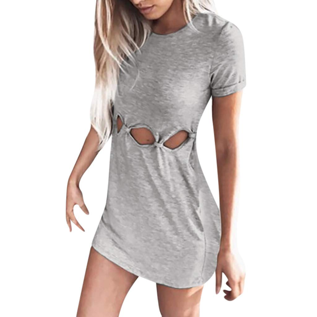 wodceeke Womens Casual Solid Color Hollow Out Round Neck Short Sleeve Mini Dress(Gray,L)