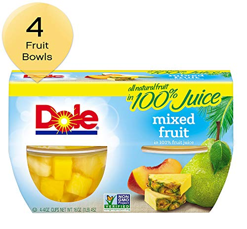 DOLE FRUIT BOWLS, Mixed Fruit in 100% Fruit Juice, 4 Ounce (4 Cups)