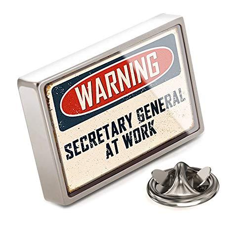 (NEONBLOND Lapel Pin Warning Secretary General at Work Vintage Fun Job Sign)