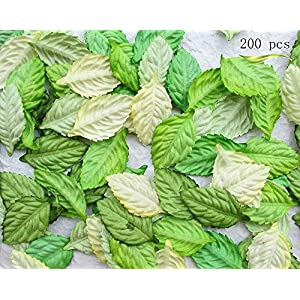 200Pcs Artificial Leaves, Assorted Colors for Halloween, Fall Weddings & Autumn Parties Decoration (One Size, 4 Assorted Colors) 4