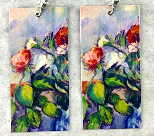 Spring Floral Abstract Art Earrings These Will Never Wilt Multi Color Flowers Famous Art Sterling Silver or Gold Plated Ear Wires Handmade by Artist