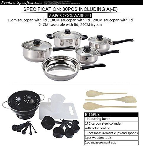 Cookware Cooking Pots And Pans Set 80 Piece Kitchen Starter Combo Utensil - Black