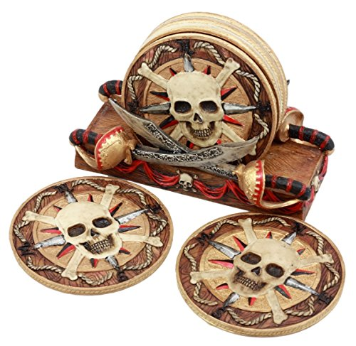 Ebros Gift Crossed Blades Caribbean Pirate Skull Coaster Set Six Round Coasters Figurine with Holder 4