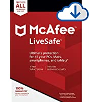 Amazon.com deals on McAfee Live Safe Unlimited Devices Antivirus Software Digital