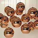Injuicy Lighting Tom Dixon Rose Gold Glass Globe Electroplate Edison Ball Pendant Lights Zorbing E27 Socket Ceiling Lamps Single Head for KTV Dining Room Bar Hotel Corridor Restaurant (Dia. 5.9 Inch)
