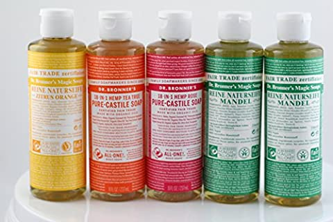 Dr. Bronners Liquid Castile Soap, 8oz - Variety Pack Bundle (5 Pack (B))