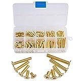 INCREWAY Machine Screws, 160 Pcs M4 M5 10 Sizes Brass Flat-Head Bolts Phillips Drive Machine Screws Assortment Kit