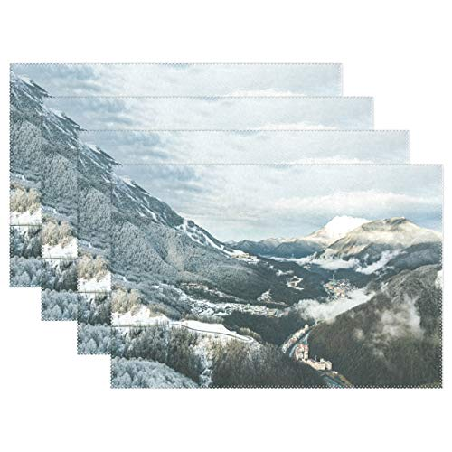 NMCEO Place Mats Wallpaper Alpine Alps Personalized Table Mats for Kitchen Dinner Table Washable PVC Non-Slip Insulation Set of 6 ()