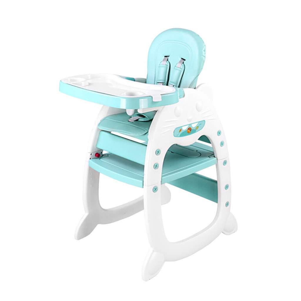 WANGXIAOLIN ベビーハイチェア3-in-1コンバーチブルゲームテーブルとチェアセット、ゲーム学習、取り外し可能な給餌トレイ、長年使用できる椅子 (色 : 青)  青 B07PZWCT5L