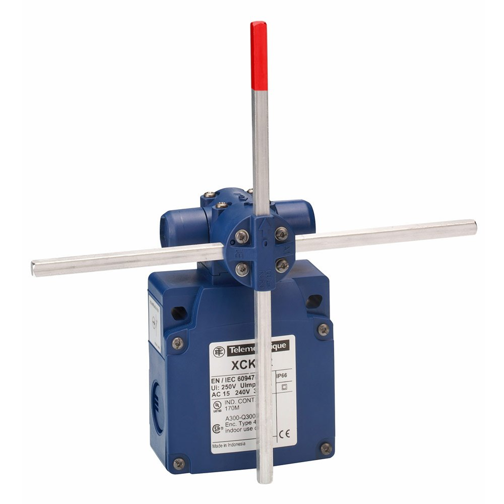 Telemecanique XCKVR54D1H29 Limit Switch, 300 VAC, 10 amp, (2x) 2 NC, Rotary Head, Crossed Metal Rods