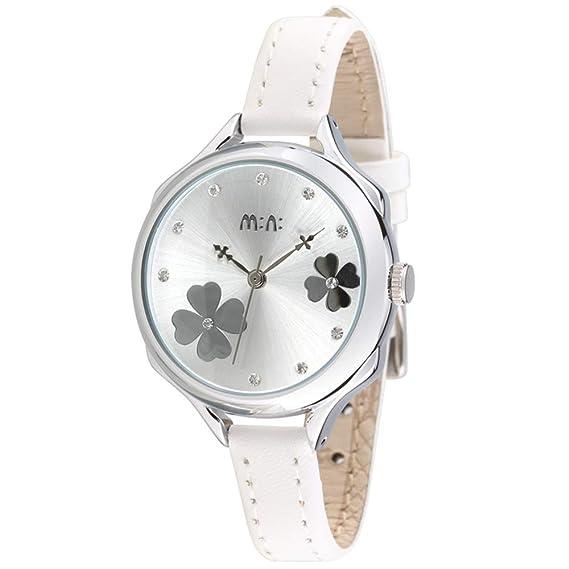 Flor Diamante de imitación Escala Relojes de Mujer, Plata Piel sintética Relojes Analógicos, Blanca: Amazon.es: Relojes