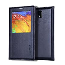 Note 3 Case, Galaxy Note 3 Case, Huijukon Elegant S-view Smart Flip Leather Case Cover with Auto Sleep/Awake Function for Samsung Galaxy Note 3 III (Black)