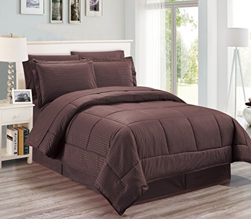 8 pieces Reversible Wrinkle free soft comforter set including sheet set, Chocolate Queen Size