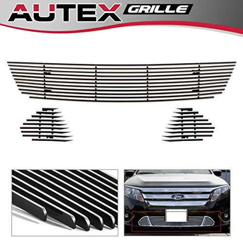 2012 Aluminum Grille (AUTEX F66660A Lower Bumper Horizontal Billet Grille Insert for 2010 2011 2012 Ford Fusion Sport Grill Aluminum Polished)
