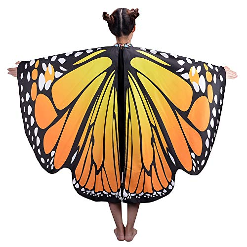 (HITOP Butterfly Wings For Girls, Butterfly Shawl Fairy Ladies Cape Nymph Pixie Costume)