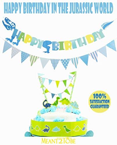 Blue Happy Birthday Banner Dinosaur Banner- Animals Zoo Dinosaur Bunting Banner Cake Topper Garland - Handmade Banner Decor Dino Theme Birthday Party Supplies- for Kids Birthday Party, Cake Decor -