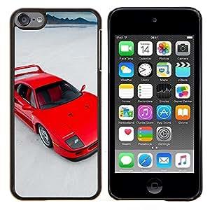 Red Sports Car- Metal de aluminio y de plástico duro Caja del teléfono - Negro - iPod Touch 6