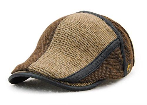 YCHY Men's Knitted Wool duckbill Hat Warm Newsboy Flat Scally Cap (coffee01)