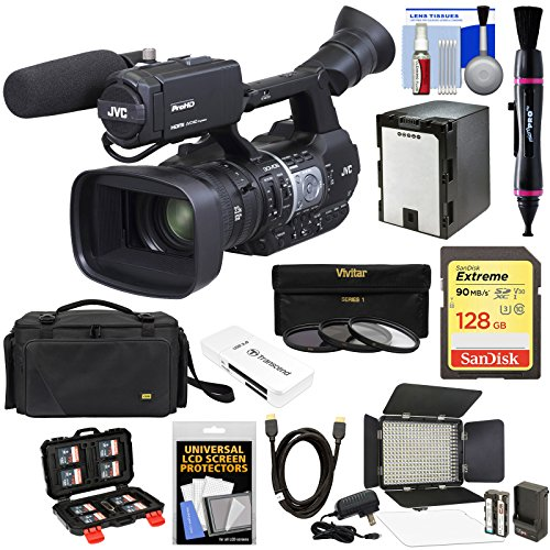 JVC GY-HM620U ProHD Professional Mobile News Camcorder with XLR Microphone + 128GB Card + Battery + Case + LED Video Light Kit