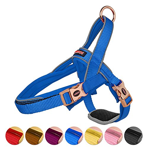Classic Nylon Halters - DOGNESS Classic Dog Halter Harness, Traffic Control Handle Belly Protector Metal Buckle, Reflective Soft Padded Nylon, for Small Medium Large Dogs, Matching Leash Collar Sold Separately, Blue XS/S
