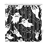 InterestPrint Scary Halloween Ghost Home Decor, Black and White Polyester Fabric Shower Curtain Bathroom Sets with Hooks 72 X 72 Inches