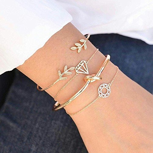 Kercisbeauty (Set of 4) Handmade Summer Unique Dream catcher Twist Knot Diamond and Oliver Branch Adjustable Gold Bangles Cuff Bracelet Hand Chain Gift for Her,Party Hand Accessories,Daily,birthday - Diamond Dreams Tennis Bracelet