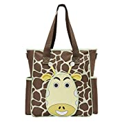 SoHo diaper bag Gavin the Giraffe 10 pcs nappy tote travel bag for baby mom dad insulated unisex multifunction large capacity multifuncation durable includes changing pad stroller straps brown