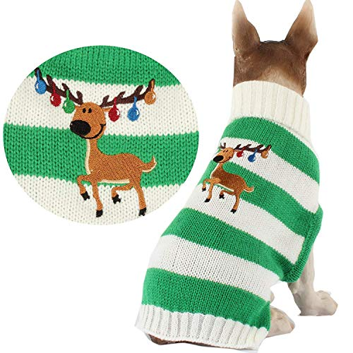 RSHSJCZZY Christmas Stripe Dog Sweater with Elk,Pet Cat Sweater Clothes -